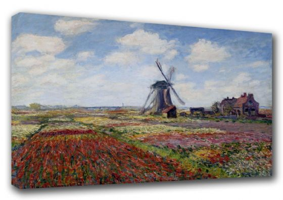 Monet, Claude: Tulip Fields with the Rijnsburg Windmill. Fine Art Scenic Landscape Canvas. Sizes: A3/A2/A1 (003219)
